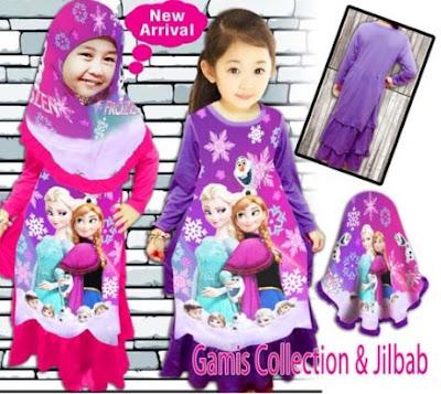 Model Baju Gamis Anak Frozen
