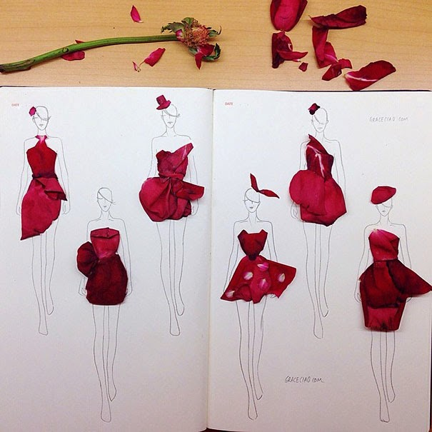 Creative Fashion Illustrations With Real Flower Petals