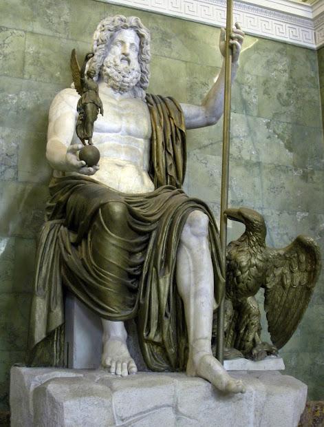 Marble Naturally Illuminated Statue Of Zeus Olympia