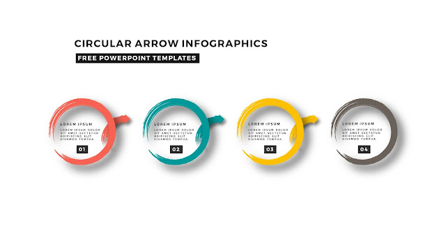 Circular Brush Stroke and Arrow Infographic Free PowerPoint Template Slide 4