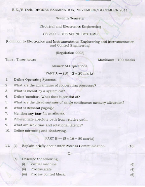 CS2411 Operating Systems Nov Dec 2011 Question Paper