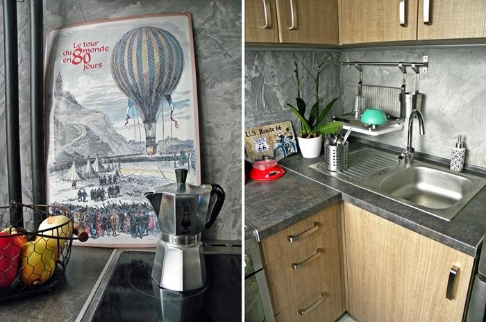 betonowa ściana DIY w kuchni, loftowa kuchnia | levelupstudio