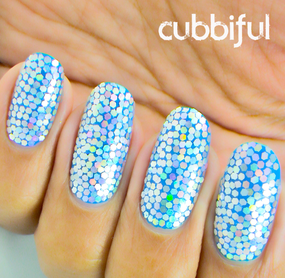 holographic glitter placement nails