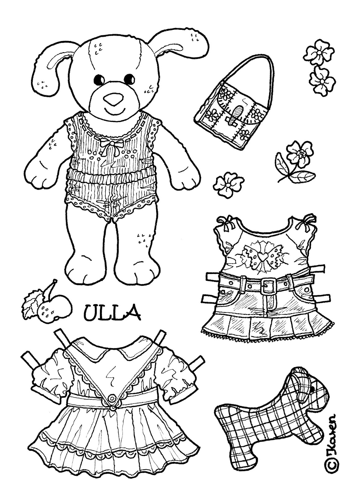 Karen`s Paper Dolls: Ulla 1-4 Paper Doll in Big Size to