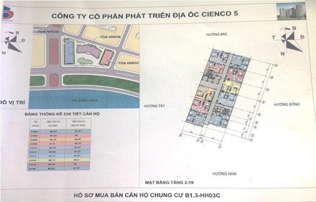 Sơ đồ mặt bằng chung cư B1.3 HH03C Thanh Hà Cienco 5