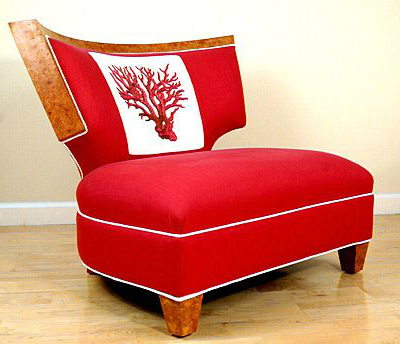 upholstered coral chair