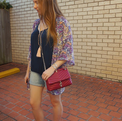 awayfromblue instagram navy tank denim shorts rebecca minkoff edie crossbody bag and purple kindness collective kimono