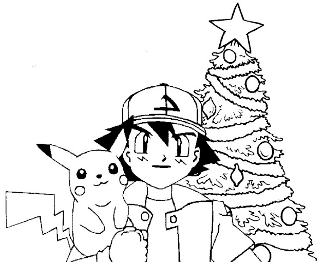 Coloring Pages And Print Pikachu Christmas Tree Pokemon Coloring Pages  Within Pokemon Christmas Coloring Pages