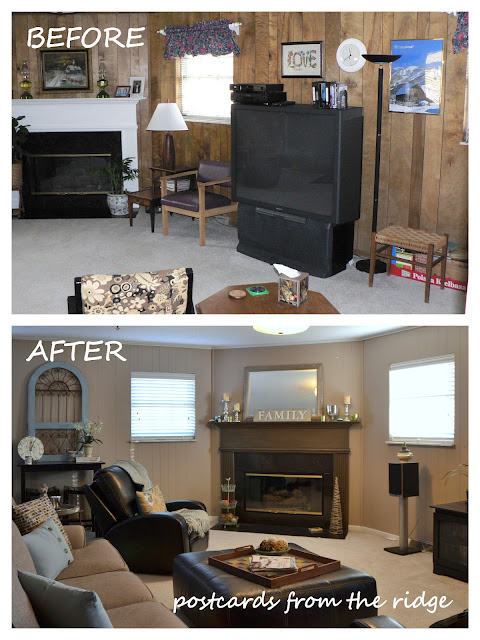 BEFOREANDAFTERFAMILYROOM Painting Over Paneling Mobile Home Ideas on painting over wainscoting, painting over wallboard mobile home, ceiling repair mobile home, painting over aluminum mobile home, home mobile home, paint mobile home,