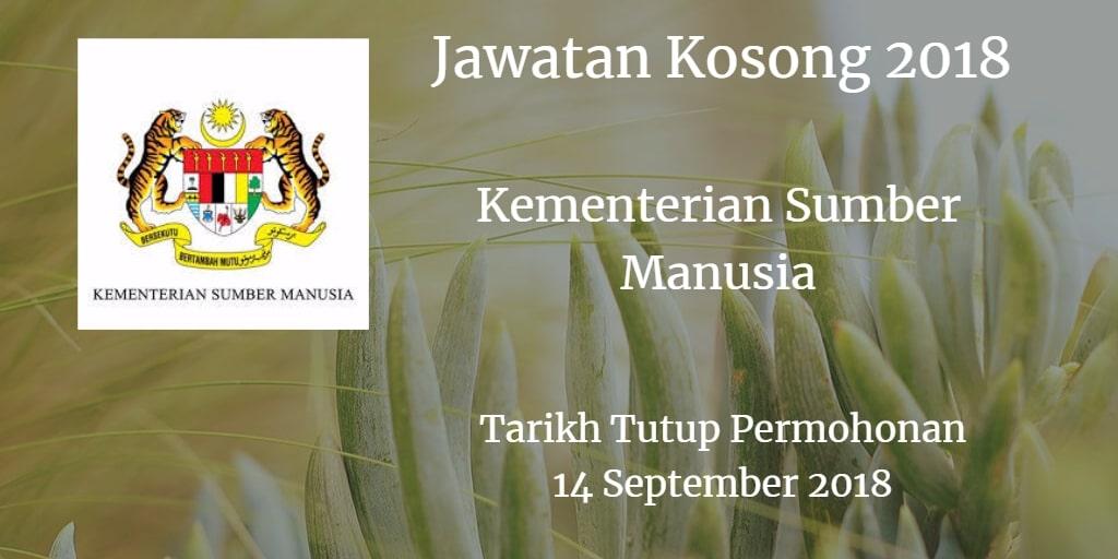 Jawatan Kosong MOHR 14 September 2018