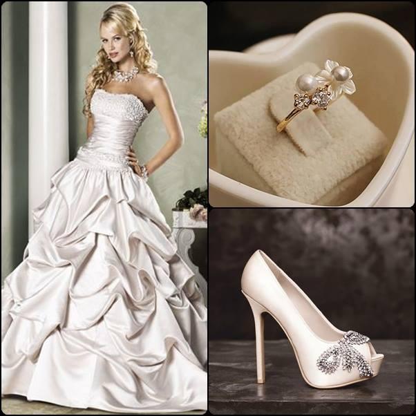 Vestido de Novia Elegante y Moderno, zapatos y anillo