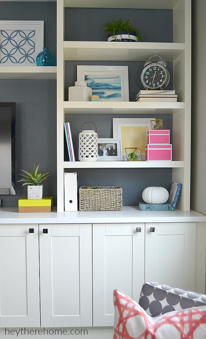 modern decor in white bookcases