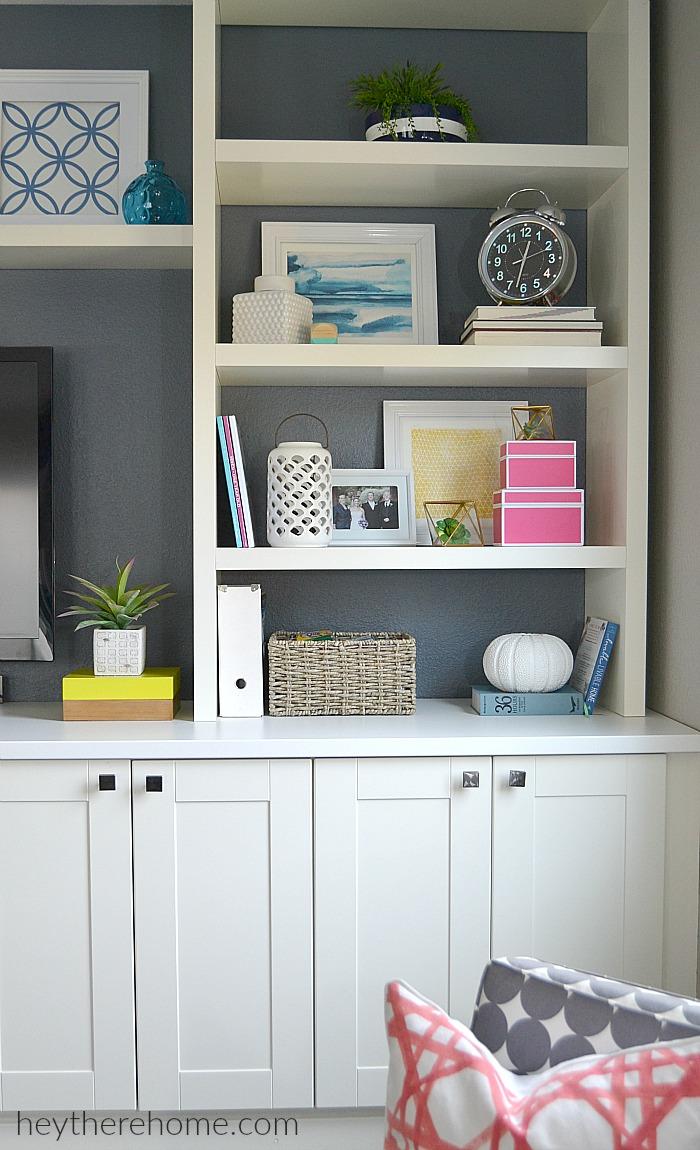 modern decor in white bookcases