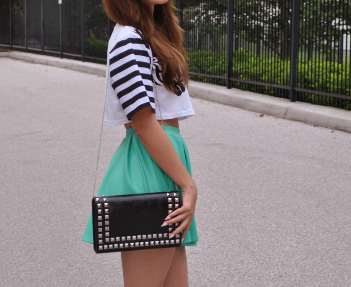 swaychic zebra crop top, sway, swaychic mint skater skirt, studded clutch