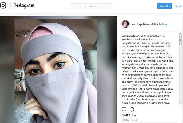 Gunakan Niqab, Kartika Putri Merasa Diintimidasi Pihak Bandara