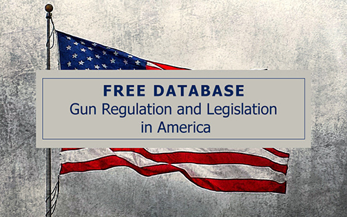 Poster for Gun Regulation & Legislation in America database, featuring American flag.