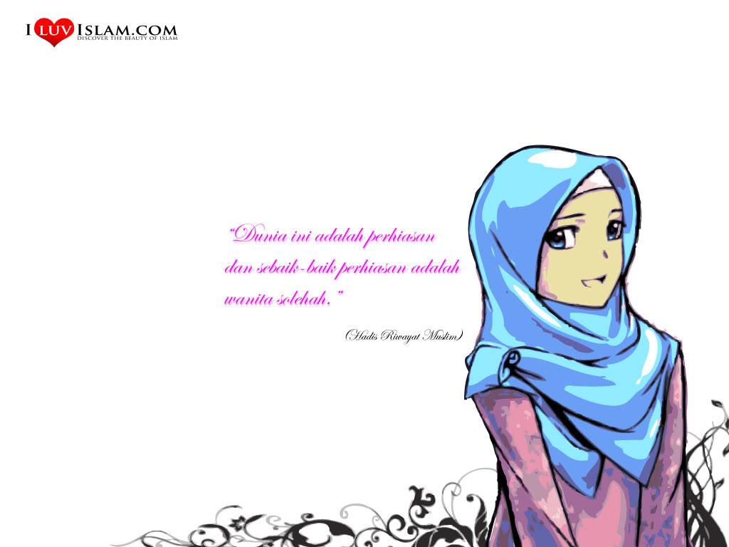 Gambar Kartun Muslimah Dengan Kata Kata Bijak Kolek Gambar