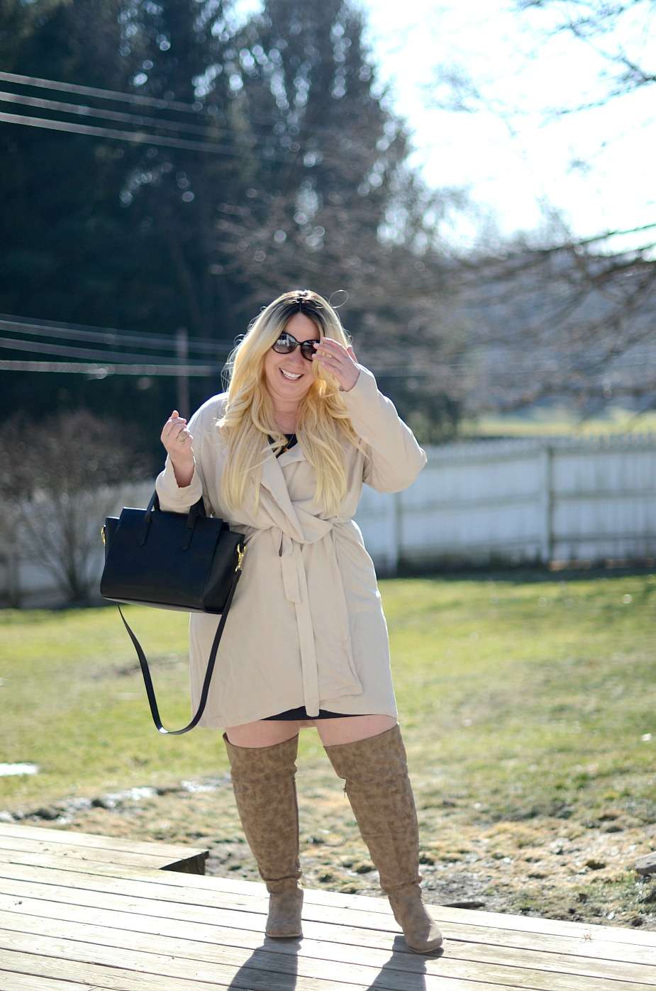 Plus size Forever 21 Sweater Dress & Thigh High Boots