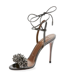 Aquazzura Dark Gray Metallic Beaded Barely There High Heels