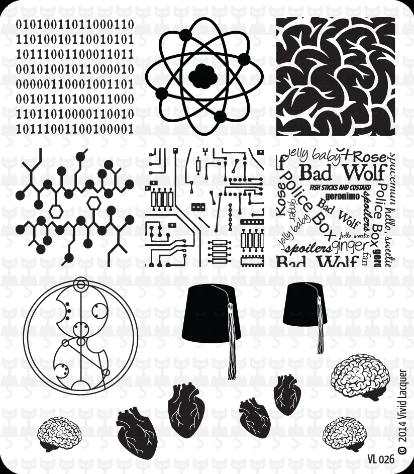 Lacquer Lockdown - Vivid Lacquer, VL024, stamping, nail art, new plates 2014, new nail art plates 2014, new image plates 2014, new stamping plates 2014, VL026, brains, hearts, dr who, binary code, diy nails, nail art, cute nails, cute nail art ideas, easy nail art, pueen 2014
