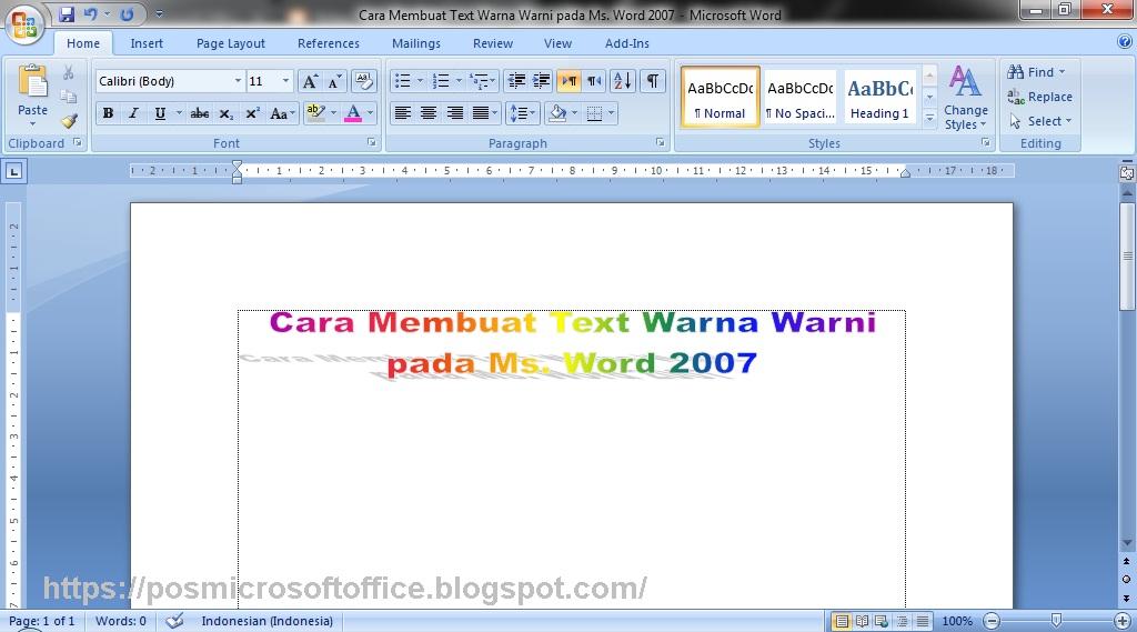 Cara Membuat Text Warna Warni Pada Ms Word 2007 Belajar Microsoft Office