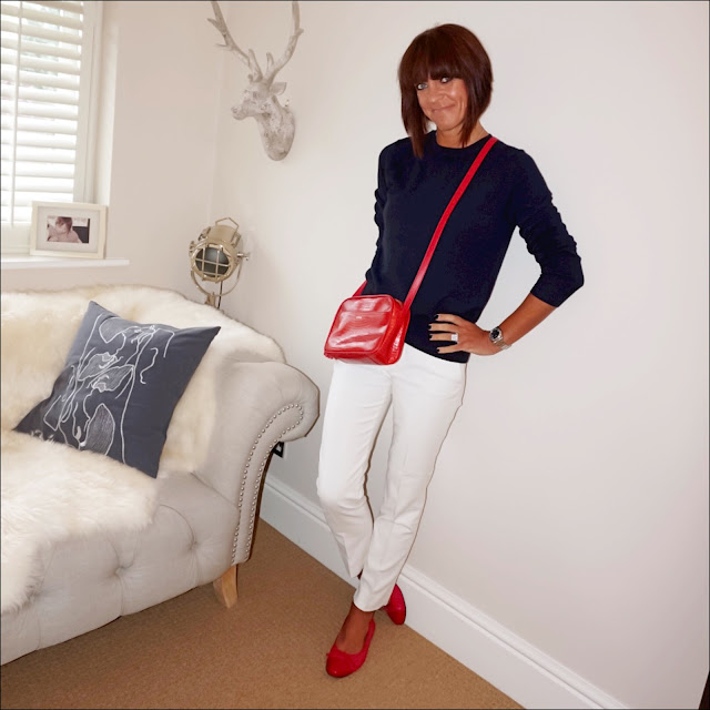 my midlife fashion, marks and spencer crew neck ribbed cashmere jumper, uterque croc leather tassel cross body bag, zara cigarette pants, red quilted ballet pumps