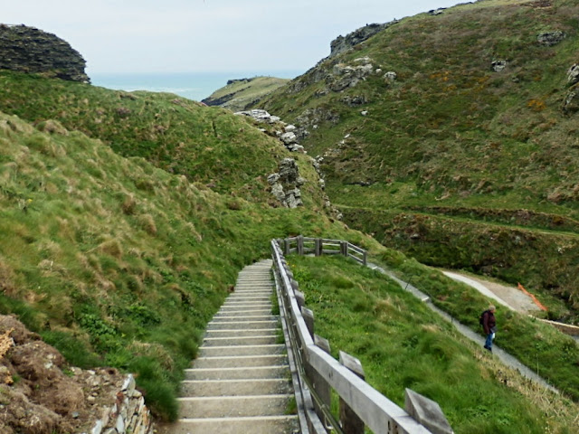 Steps down to sea level and entrance to King Arthur's Castle at Tintagel