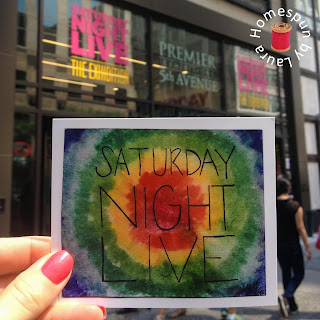 watercolor painting of Saturday Night Live in NYC