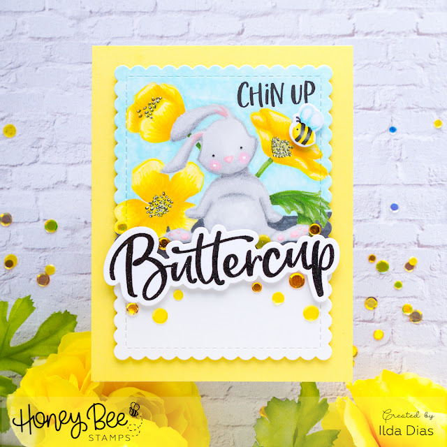 Chin Up Buttercup Bunny | No Line Coloring | Encouragement Card by ilovedoingallthingscrafty.com