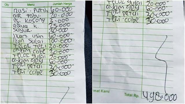 Makan Di Warung Padang Di Batam, Kaget Bukan Main Pria Ini Bayar Makan Hampir Setengah Juta, Nasi Sepiring Rp. 60 Ribu, Untung Nggak Jantungan....