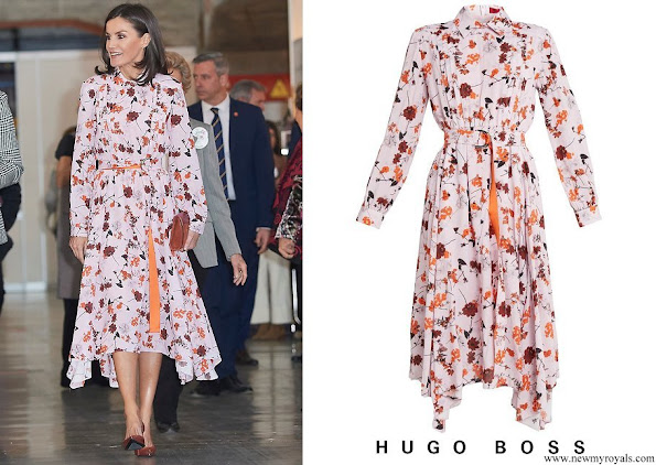 Queen Letizia wore Hugo Boss floral print shirtdress