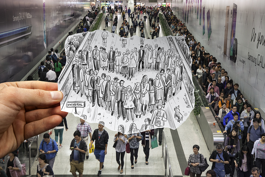 hong kong metro station - heart shaped crowd