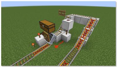 Minecraft トロッコ輸送 積み込み駅 複線