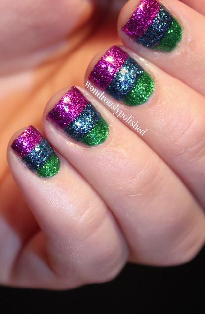 Wondrously Polished April Nail Art Challenge: Wondrously Polished: GLITTER Stripes