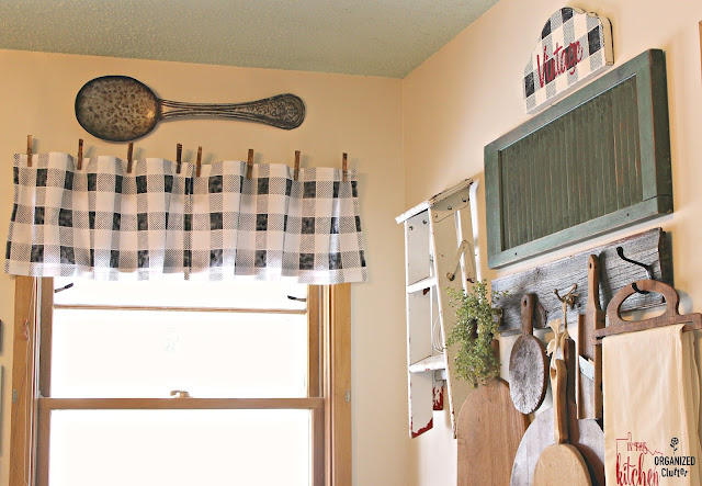 Buffalo Check Stenciled Flour Sack Dish Towel Valances #oldsignstencils #stencil #buffalocheck #farmhousekitchen