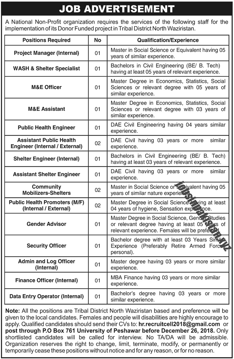 Advertisement for North Waziristan Jobs December 2018