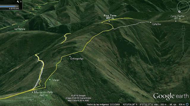 Mapa ortográfico 2 Pesquerín - Pico Torre - Piloña