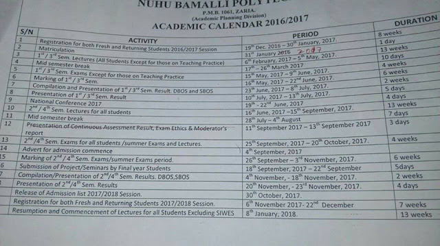 NUBA Poly 2016-2017 Academic Calendar Schedule Out