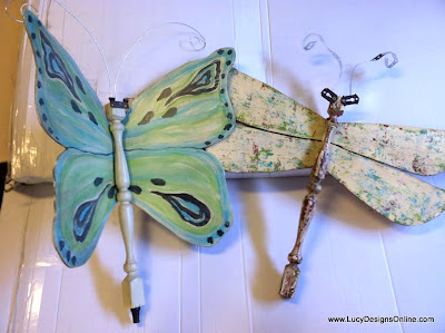 spindle butterfly and dragonfly art