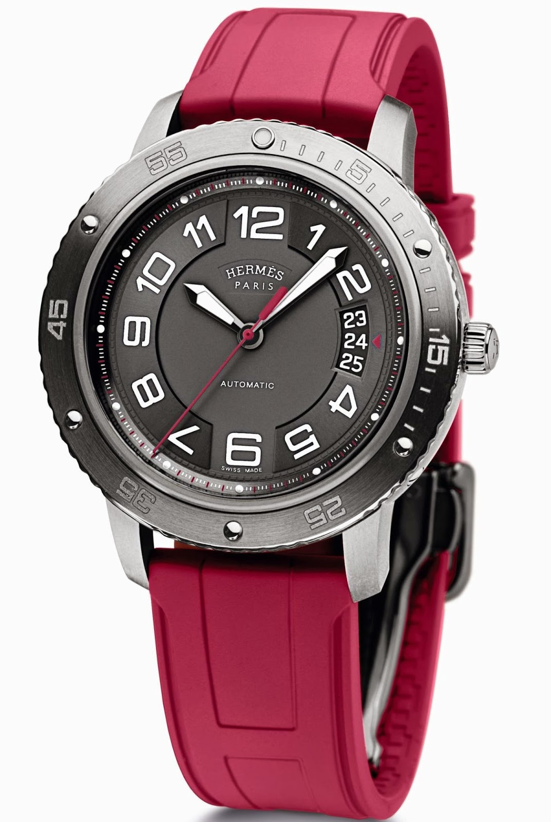 Hermès Clipper Sport automatic watch with red rubber strap