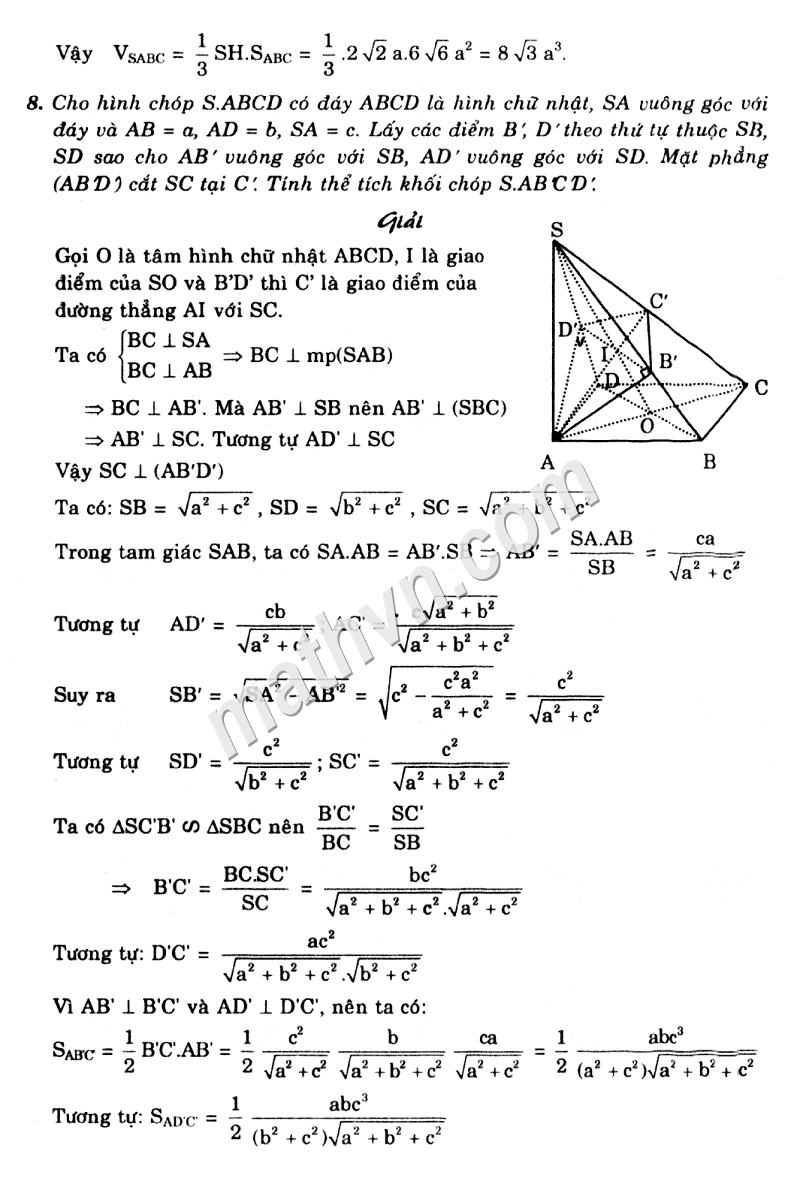 Giải Bài Tập Ôn Tập Chương 1 SGK Hình Học 12 Cơ Bản