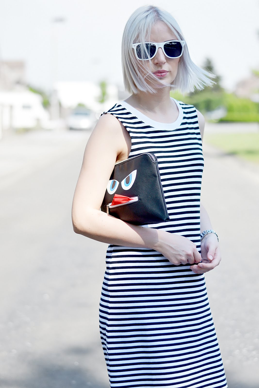 Monki striped dress, black and white, monster clutch, monochrome white dr martens, sacha shoes, street style, belgian blogger