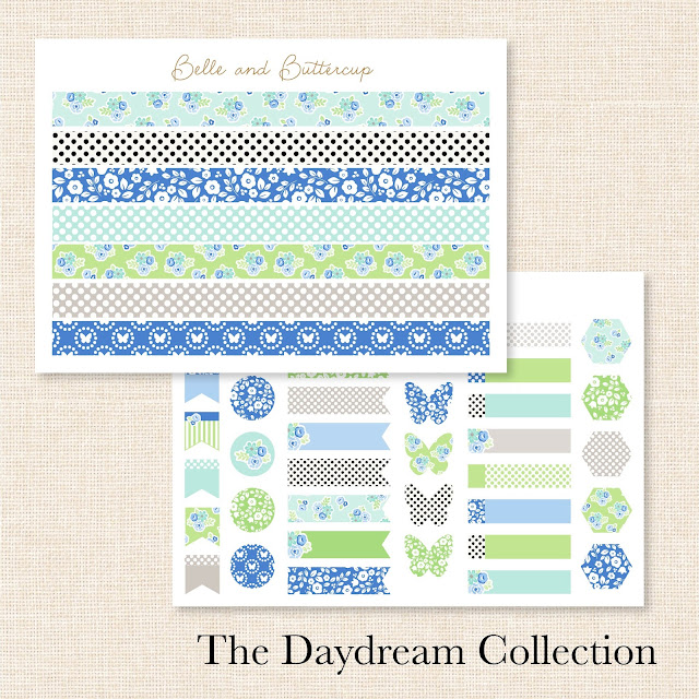 Blue, green, grey, floral, hot air balloon planner stickers.