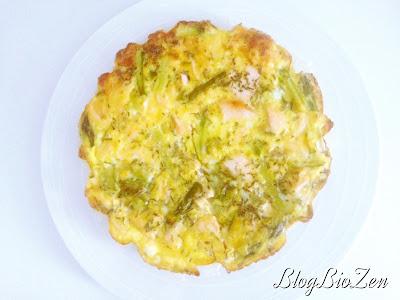 Quiche sans gluten sans lactose sans pâte aux asperges vertes et au saumon bio
