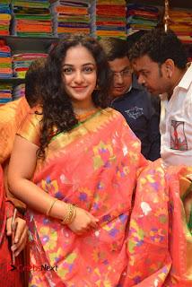 Actress Nithya Menen Pictures in Silk Saree at Kalamandir 25th Store Launch  0006
