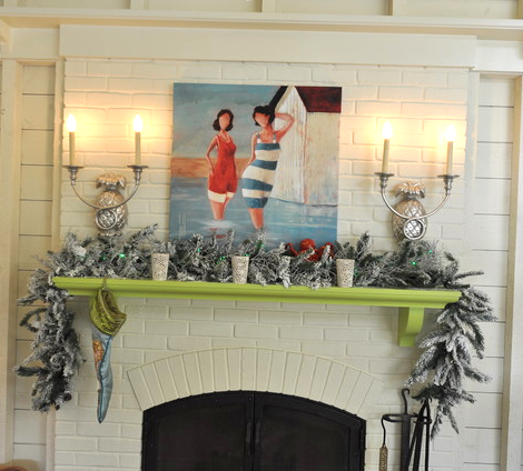 eclectic coastal home decked out for Christmas