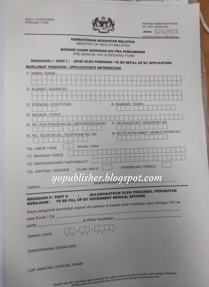 Persediaan Kahwin Prosedur Ujian Hiv Untuk Bakal Pengantin