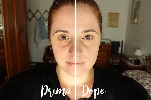 Neve Cosmetics Creamy Comfort Foundation - Applicazione: Prima e Dopo