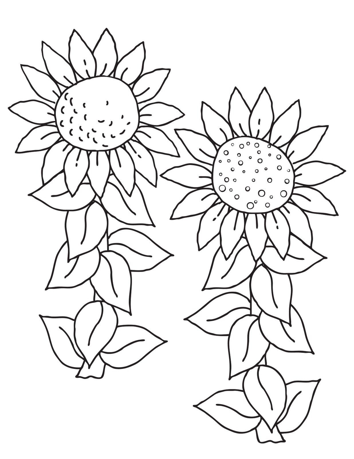 unique simple sunflower coloring pages library coloring