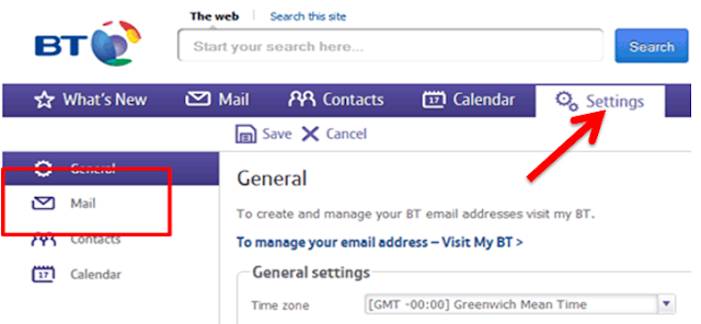 Customize bt mail setting